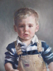 Young Boy Portrait Painting by Linda Maphet
